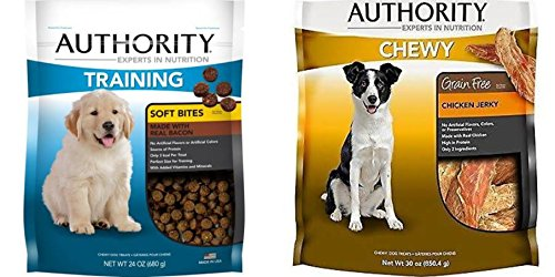 Authority Dog Treats Grainfree Chewy Chicken Jerky 30 oz and Training Soft Bites Bacon 24 oz