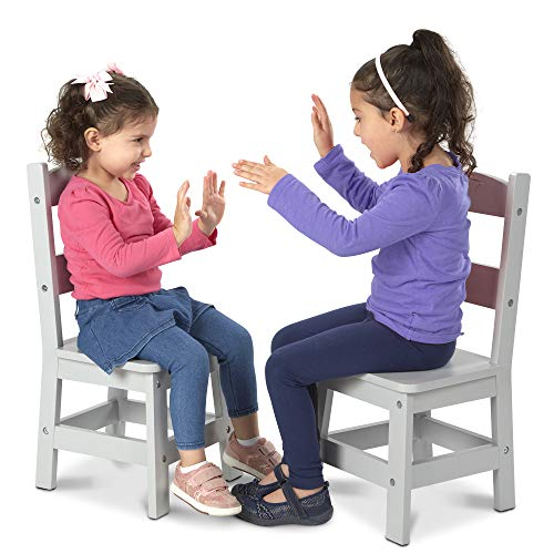 Melissa & Doug Kids Furniture Wooden Chair Pair - Gray, Great Gift for Girls and Boys - Best for 3, 4, 5 Year Olds and Up