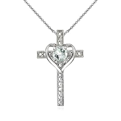 Amazon sterling silver light aquamarine cross heart pendant sterling silver light aquamarine cross heart pendant necklace for girls teens or women aloadofball Image collections