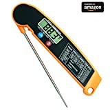 Meat Thermometer Instant Read, Electronic Digital Food Cooking Kitchen Ultra Fast Accurate Thermometers with LCD and Collapsible. Long Probe for Grilling, Candy, Milk, Tea and BBQ