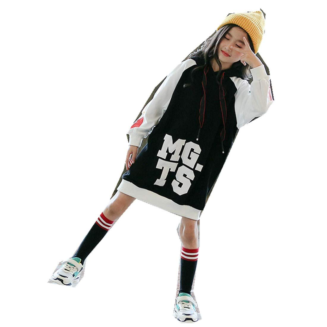 Childrens Autumn Womens Long Hooded Printed Shirt Girls Loose Sweater Tide