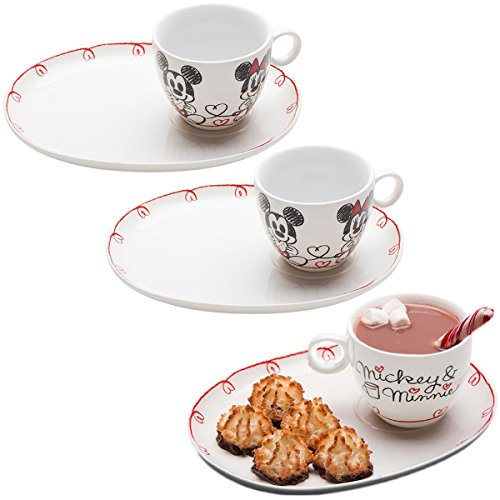 Zak (6pc) Dish Set Disney Mickey Minnie Mouse Ceramic Teacup Plates Party Supplies