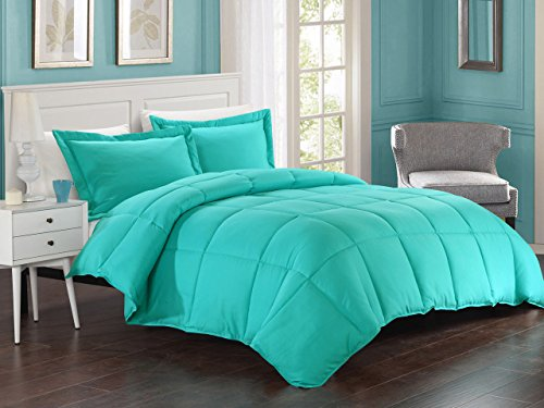 KingLinen Turquoise Down Alternative Comforter Set Full/Queen (Turquoise Bedding)