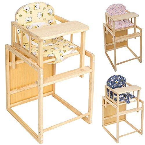 TecTake Kinderhochstuhl Kombihochstuhl Hochstuhl Babyhochstuhl Holz Baby Stuhl + Tisch 2 in 1 Kombination - diverse Farben - (Gelb)