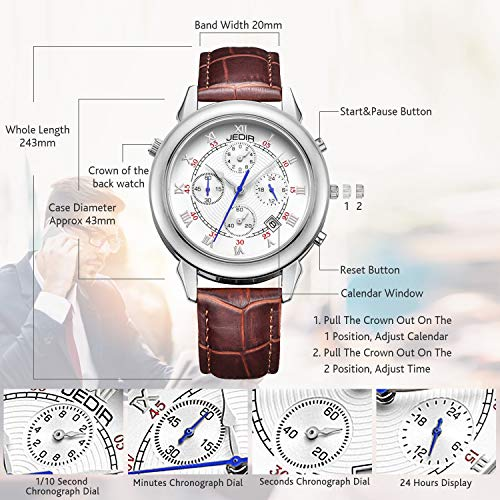 JEDIR Men's Multifunction Chronograph Watch Double-Sided Display Quartz Analog Date Daily Leather Strap