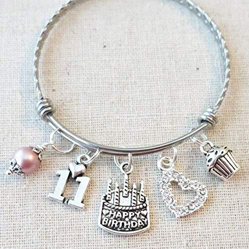 11th BIRTHDAY GIRL Birthday Charm Bracelet Granddaughter Daughter Gift Idea Girls Eleventh