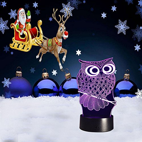 FIGHTART 3D Owl Lamp, Optical Illusion Night Light for Nursery / Decor / Living Room, 7 Colors Changing Owl Toys and Gifts for Kids / Birthday (Blue Ovo Table Lamp)