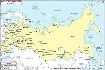 Russia Map with Major Cities (36
