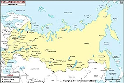 Amazon.com : Russia Map with Major Cities (36\