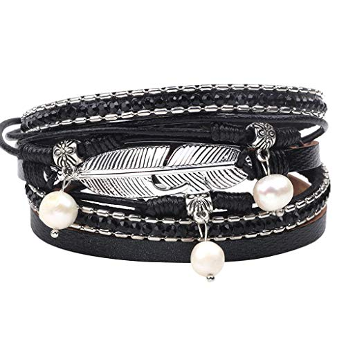 XBKPLO Bracelet for Women Vintage Multi-Layer Leather Pearl Bangle Braided Wrap Cuff Alloy Magnetic Clasp Accessories Jewelry Anniversary Valentine's Day Present ()