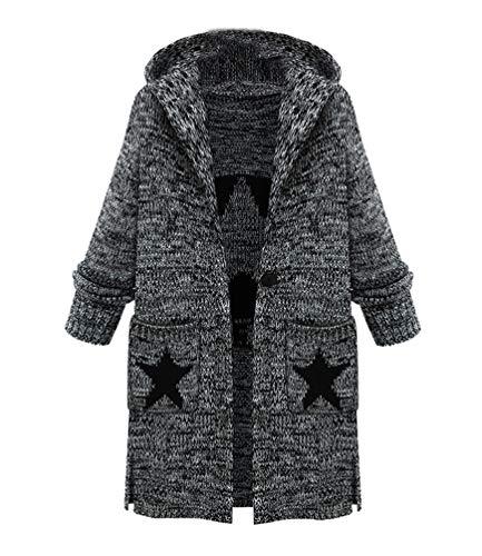 JIANLANPTT Women Long Loose Cardigan Sweaters Coat Winter Fashion Hooded Cardigan Knitwear Star Pirnt Gray 4XL=US 2XL