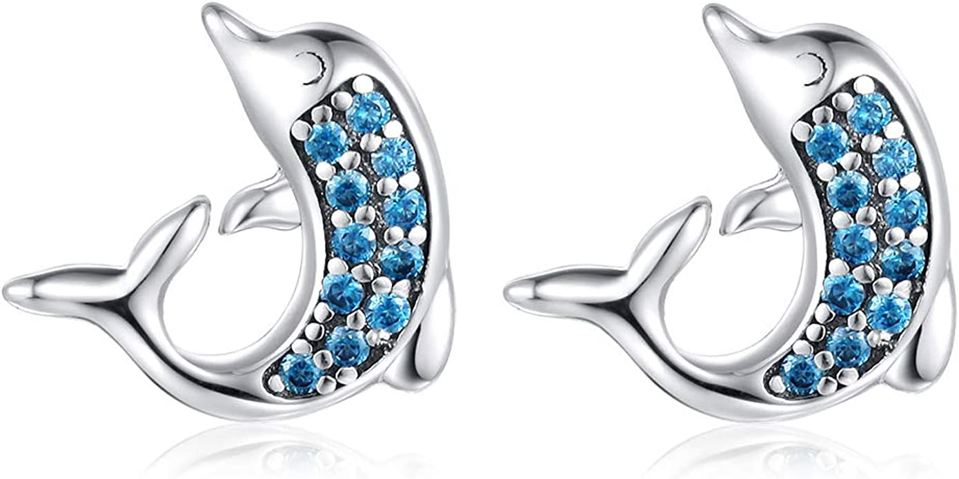 Pair Of Sterling Silver  925  Dolphin  Ear  Studs  ! New  !!