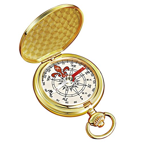 Eaggle Gifts Classic Compass for Camping and Birthday Gift (Gold)