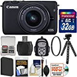 Canon EOS M10 Wi-Fi Digital ILC Camera & EF-M 15-45mm IS STM Lens (Black) with 32GB Card + Backpack + Battery + Flex Tripod + Filter + Kit