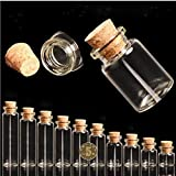 GreenSun(TM) 100pcs Small Cute Cork Stopper Glass Bottle Vials Jars Containers Wedding Small Wishing Bottle Glass with Cork S020B