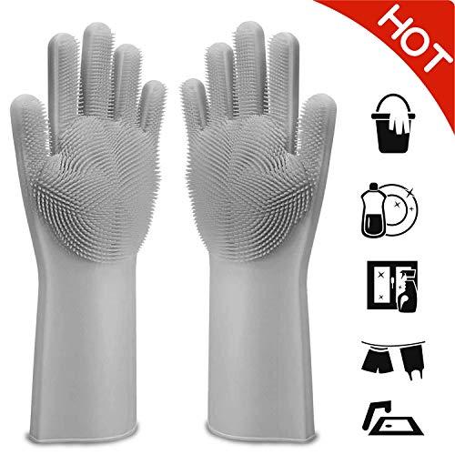Magic Silicone Gloves, Kitchen Gloves - Magic Silicone Dishwashing Gloves - Silicone Scrubber Rubber Gloves with Brush, Ideal for Dishwashing/Kitchen/Car/Bathroom/Clean Pet Hair Care