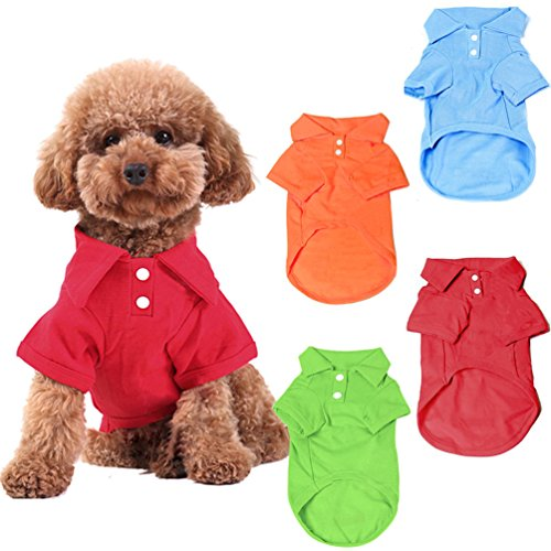 KINGMAS 4 Pack Dog Shirts Pet Puppy T-Shirt Clothes Outfit Apparel Coats Tops - Medium -