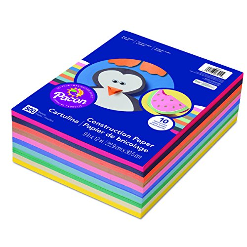 : Pacon 6555 Rainbow Super Value Construction Paper Ream, 45 lb, 9 x 12, Assorted, 500 Sheets
