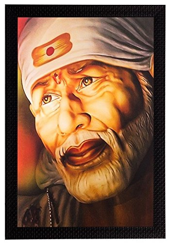 Ppd Shirdi Sai Baba Framed Painting Wooden Frame 12 Inch X 18 Inch Amazon In Home Kitchen