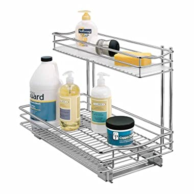 Lynk Professional Roll Out Undersink Drawer Cabinet Organizer 11.5  x 18  x 14  - Pull Out Two-Tier Under Cabinet Shelf - Slide Out Organizer for Kitchen, Pantry, Bathroom, Laundry Room - Chrome