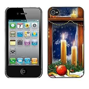 diy phone caseYOYO Slim PC / Aluminium Case Cover Armor Shell Portection //Christmas Holiday Window Candles 1199 //Apple Iphone 4diy phone case