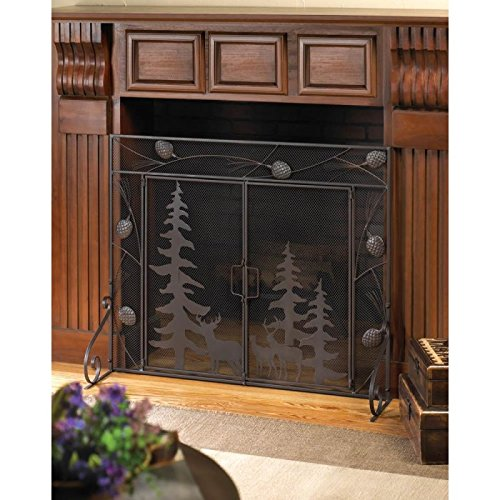 - Fireplaces Woodland Forest Fireplace Screen Wild Wilderness Rustic Iron Metal Mesh Deer Gift Room Den Office Library Room