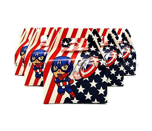 Astra Gourmet Captain America Party Favor Boxes - 24 ct Superhero Treat Goody Bags for Children Birthday Party Event Gift Box -