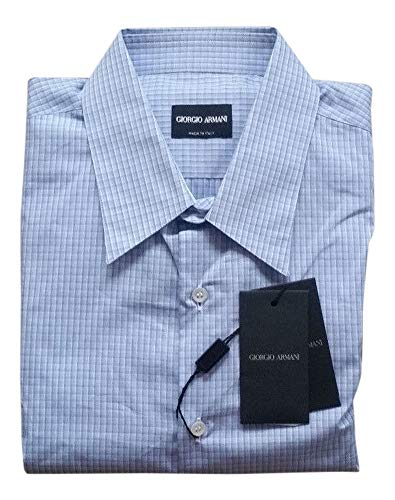GIORGIO ARMANI Light Blue/White Checkered L/S Dress Shirt Size 40/15.75