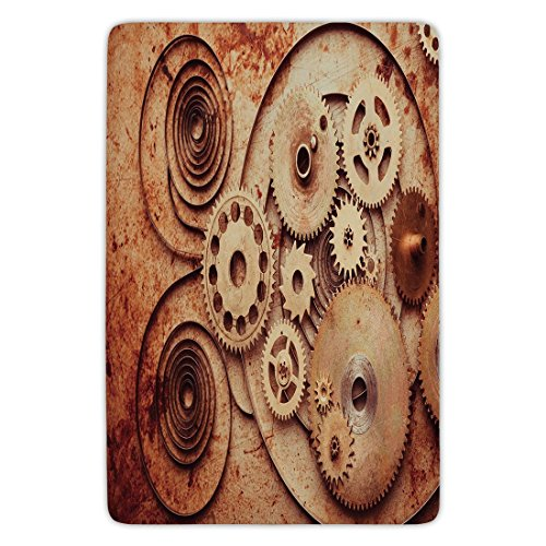 tchen Floor Mat Carpet,Copper,Mechanical Clocks Details Old Rusty Look Backdrop Gears Steampunk Design Decorative,Dark Orange Peach,Flannel Microfiber Non-slip Soft Absorbent (Mechanical Copper Clock)