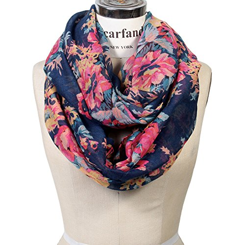 Scarfand's Romantic Rose Print Lightweight Infinity Scarf (Rose Navy)
