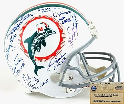 Miami Dolphins Riddell Throwback Full Size NFL Helmet Autographed/Signed by 9 Members of the Legendary 1972 Team