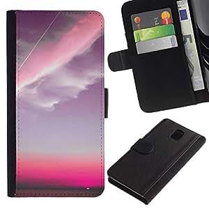 All Phone Most Case / Oferta Especial Cáscara Funda de cuero Monedero Cubierta de proteccion Caso / Wallet Case for Samsung Galaxy Note 3 III // Pink Sky Plane Clouds Sunset