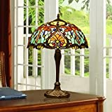 Makenier Vintage Tiffany Style Pale Blue Stained Glass Red Dragonfly Table Lamp - 16 Inches Lampshade