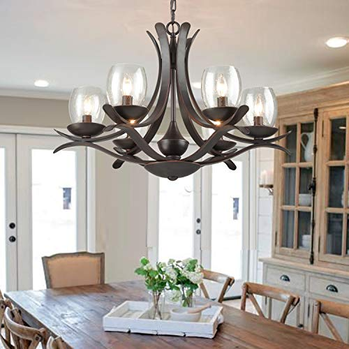 AXILAND Iron Chandelier 6 Light with Seed Glass Shade Farmhouse Chandeliers for Dining Rooms