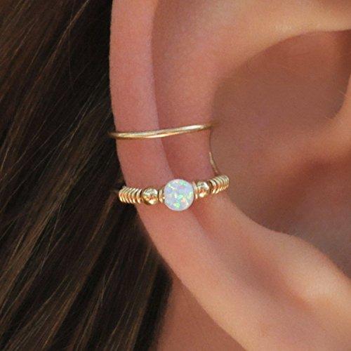 - White Opal Ear Cuff / Fake Conch Clip / Ear Cuff Wrap Earring