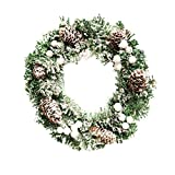 iumei Thanksgiving Decor Christmas Wreath 30cm Christmas Pine Cone Snowflake Door Wall Garland