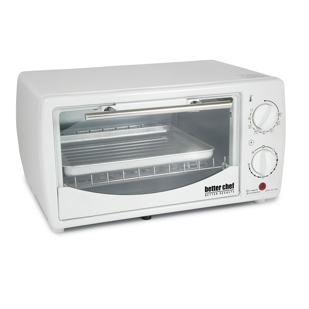 Better Chef 9 Liter Toaster Oven Broiler-White - 1 Year Direct Manufacturer Warranty