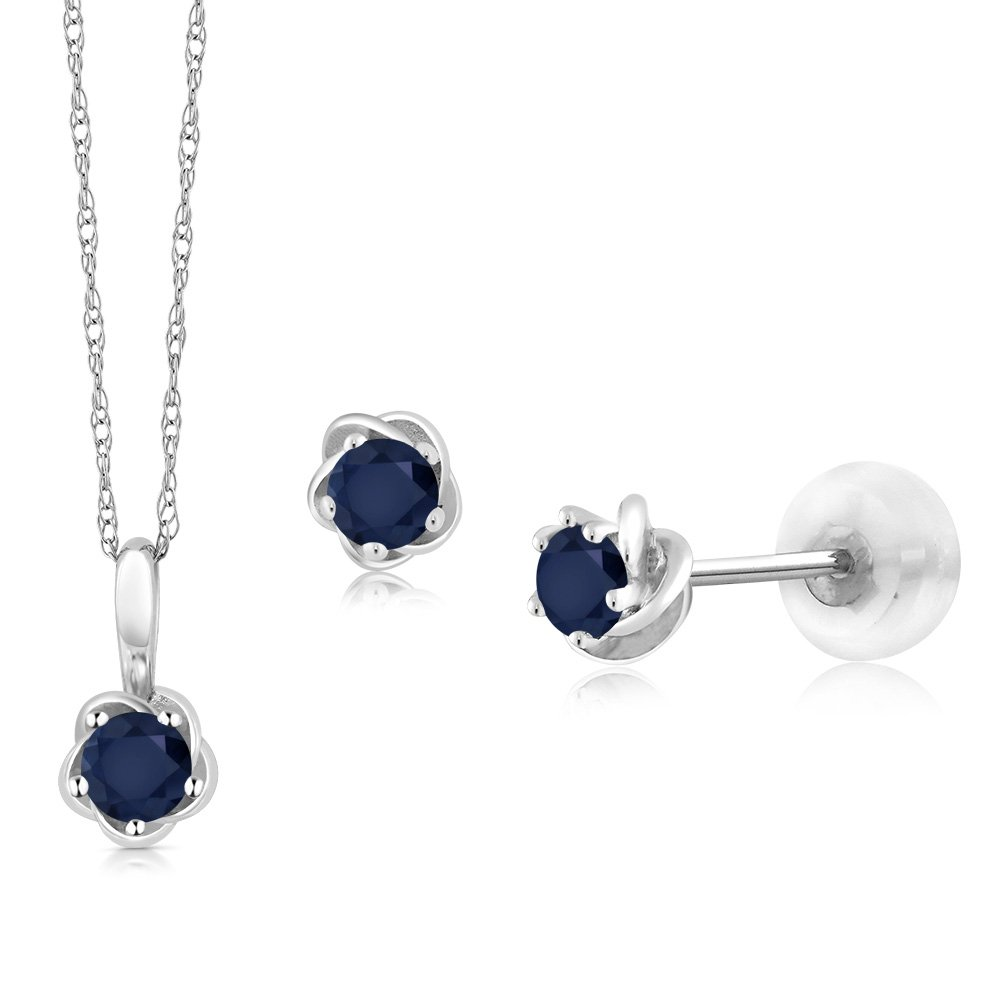 10K White Gold 0.50 Ct Round Blue Sapphire Pendant Earrings Set with Chain