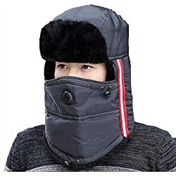 CJC Sombrero Máscara Unisexo Invierno Oreja Solapa Soldado Trampero Impermeable Térmico Calentar Nieve Esquiar Caza (Color : T3, Tamaño : 55-62CM)