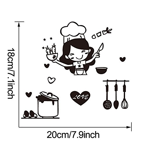 XQXCL Kitchen Light Switch Sticker Cute Cook Vinyl Wall Decal Home Decor (Black, one Size) for $<!--$0.59-->