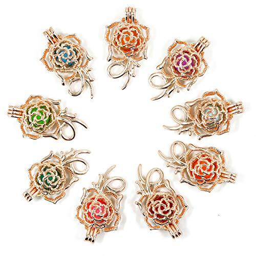 Christmas Charms 10Pcs Rose Gold Pearl Bead Cages Pendant - Essential Oil Scent Diffuser Locket Cage Charms for DIY Bracelet Necklace Earrings Jewelry Making (Style 9)