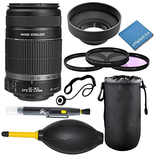Canon EF-S 55-250mm f/4.0-5.6 IS II Telephoto Zoom Lens for Canon Digital SLR Cameras, includes; 9pc CD Supply Accessory Kit - International Version (No Warranty) by Canon