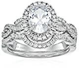 Sterling Silver Cubic Zirconia Oval and Round-cut Halo Bridal Set, Size 6