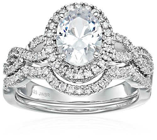 Twisted Shank Ring (Sterling Silver Cubic Zirconia Oval and Round-cut Halo Bridal Set, Size 6)