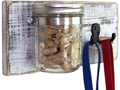Dog Leash Holder: Rustic White Farmhouse Decor Dog Treat Jar w/ Leash Hooks; Great dog lover's gift (Wooden Holder Painted Hand Leash)
