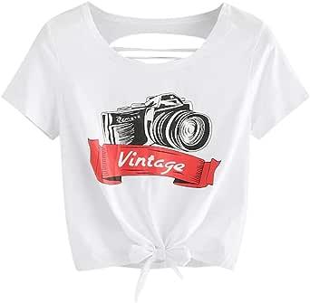 Camiseta Mujer Halter De Manga Corta Cuello Redondo Delgado Suelta Sexy con Fugas En La Parte Posterior Dobladillo Hueco Anudado Camisa Cubierta Holgada: Amazon.es: Ropa y accesorios