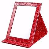 Valentine's Gift Idea - Beauty Portable Folding Traveler Cosmetics Mirror Metallic Red Alligator Pattern