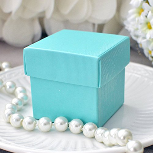 Mini Square 2x2x2 Wedding Bridal Shower Favor Box with Lid (10 Count)- Robin Egg (Robins Egg Blue Pearls)