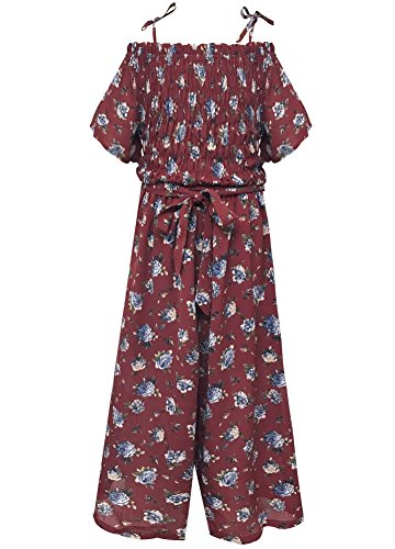 (Smukke, Big Girls Floral Printed Smocking Detailed Jumpsuits (Many Options), 7-16 (Burgundy Multi,)