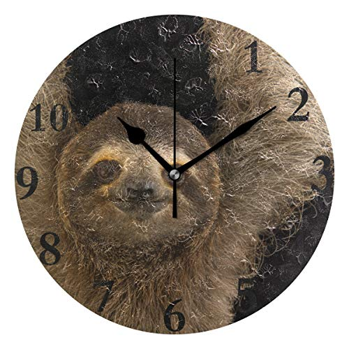 HangWang Wall Clock Black Toed Sloth Silent Non Ticking Decorative Round Digital Clocks Indoor Outdoor Kitchen Bedroom Living Room